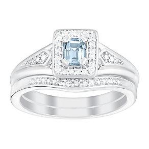 Perfect Fit 9ct White Gold Aquamarine & Diamond Bridal Set - Product number 3048349