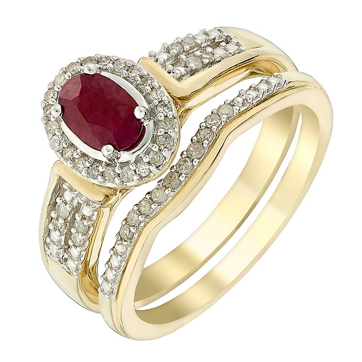 Perfect Fit 9ct Yellow Gold Oval Ruby & Diamond Bridal Set - Product number 3048608