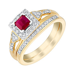 Perfect Fit 9ct Yellow Gold Diamond & Ruby Bridal Set - Product number 3048799