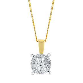 9ct Yellow Gold 0.15 Point Round Diamond Cluster Pendant - Product number 3049442