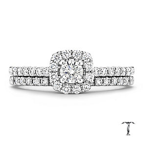 Tolkowsky platinum 0.50ct I-I1 diamond bridal set - Product number 3050211