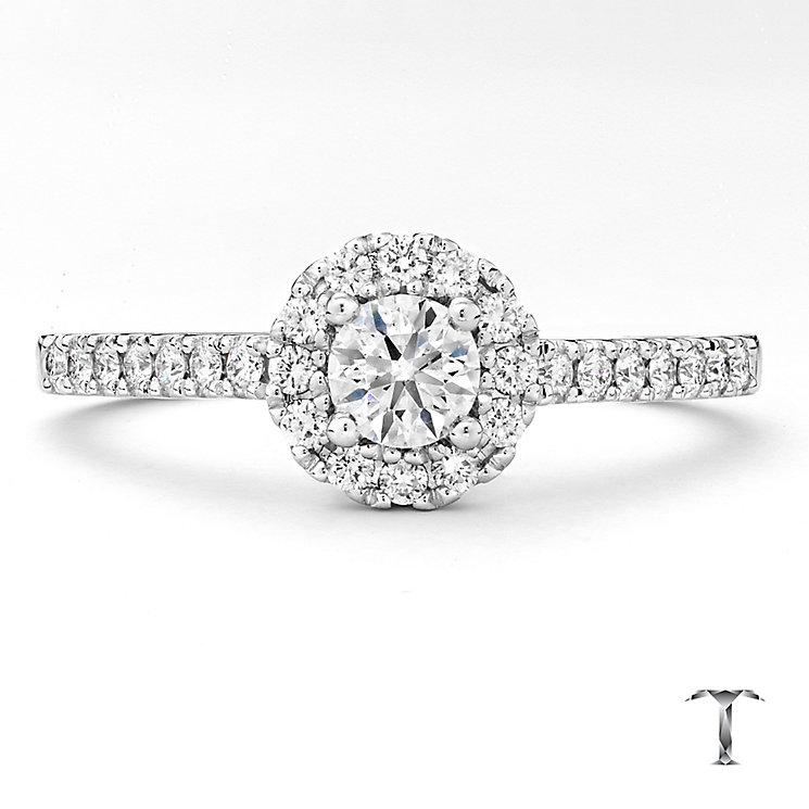 Tolkowsky platinum 0.50ct I-I1 diamond halo ring - Product number 3050351