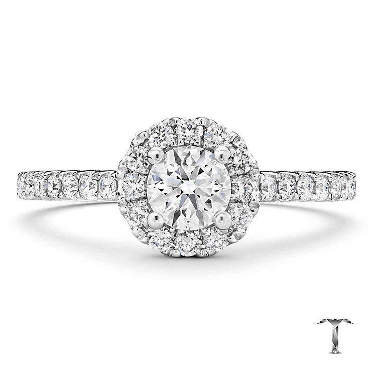Tolkowsky platinum 0.75ct I-I1 diamond halo ring - Product number 3051218