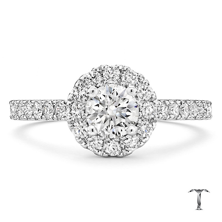 Tolkowsky platinum 1.00ct I-I1 diamond halo ring - Product number 3051390
