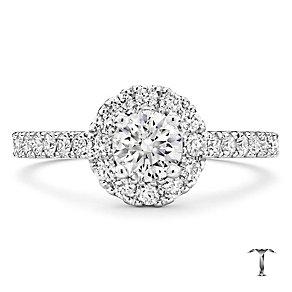 Tolkowsky platinum 1.00ct I-I1 diamond halo ring - Product number 3051390