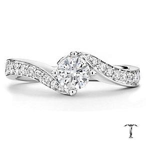 Tolkowsky platinum 1.00ct I-I1 diamond twist ring - Product number 3051617
