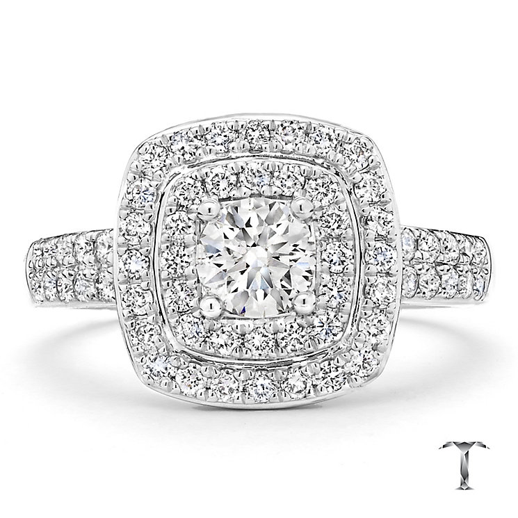 Tolkowsky platinum 1.00ct I-I1 diamond halo ring - Product number 3051935