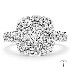 Tolkowsky platinum 1.00ct I-I1 diamond halo ring - Product number 3051935