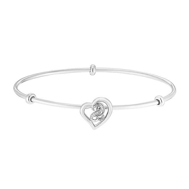 Open Hearts By Jane Seymour Sterling Silver & Diamond Bangle - Product number 3052583