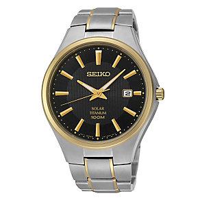 Seiko Solar men's two colour titanium bracelet watch - Product number 3053466