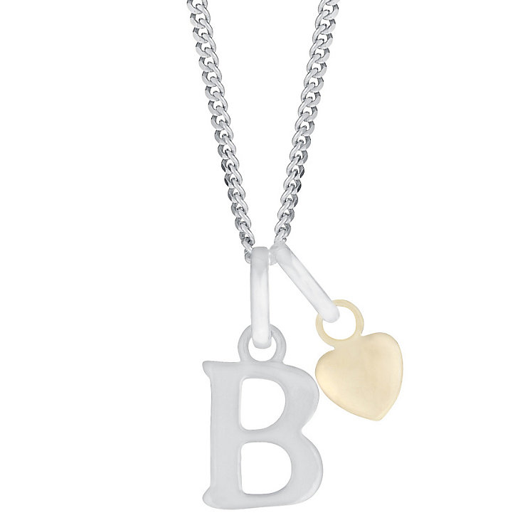 Silver & 9ct Yellow Gold Children's B Initial Pendant - Product number 3054888