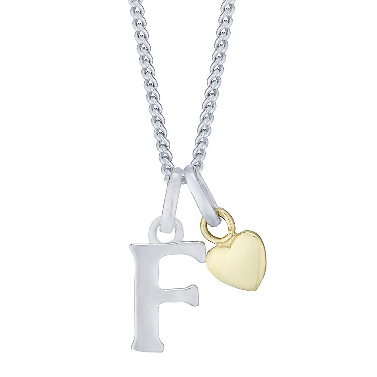 Silver & 9ct Yellow Gold Children's F Initial Pendant - Product number 3054934