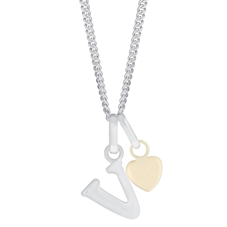 Silver & 9ct Yellow Gold Children's V Initial Pendant - Product number 3055027