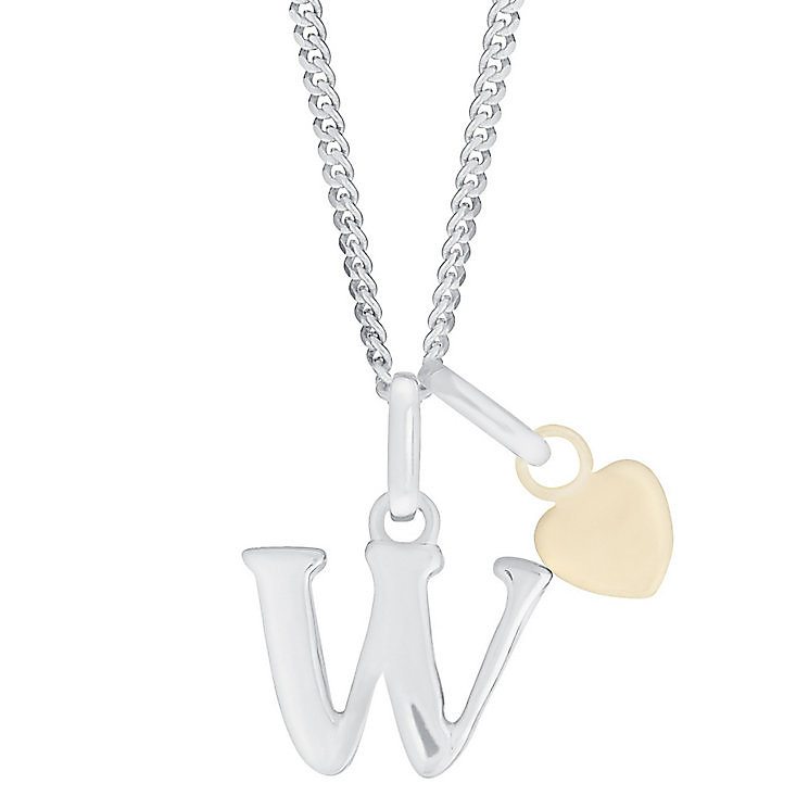 Silver & 9ct Yellow Gold Children's W Initial Pendant - Product number 3055035