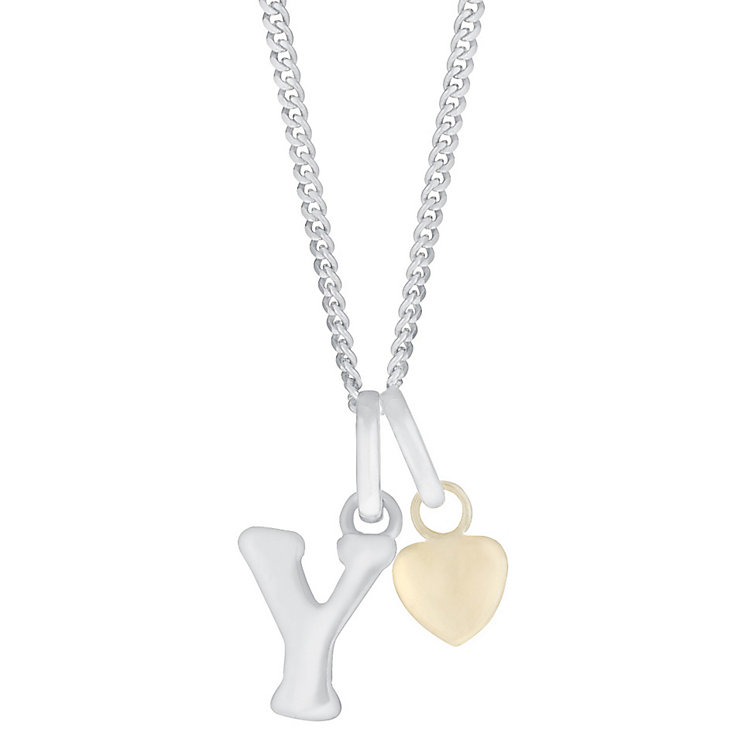 Silver & 9ct Yellow Gold Children's Y Initial Pendant - Product number 3055051
