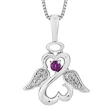 Open Hearts Angels By Jane Seymour Diamond Amethyst Pendant - Product number 3055388