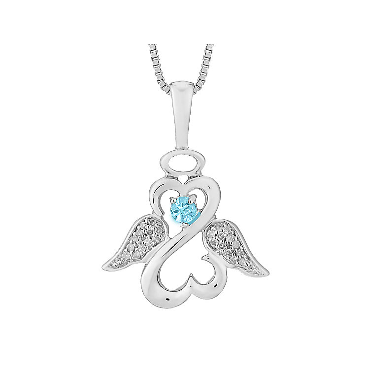 Open Hearts Angels Jane Seymour Diamond Aquamarine Pendant - Product number 3055396