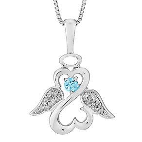 Open Hearts Angels Jane Seymour Diamond Aquamarine Pendant - Product number 3055396