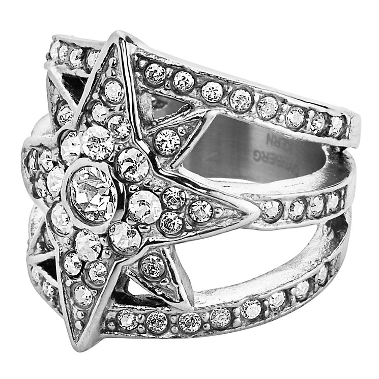 Dyrberg Kern Silver Plated StarRay Crystal Ring Medium - Product number 3055477