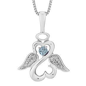 Open Hearts Angels Jane Seymour Diamond Blue Topaz Pendant - Product number 3055612