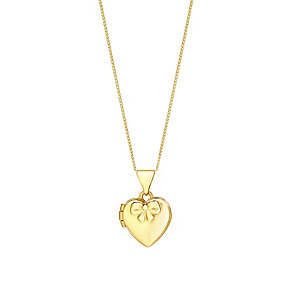 """Children's 14"""" 9ct Yellow Gold Heart & Bow Locket - Product number 3055787"""