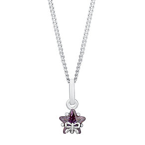 Silver Children's Star & Bow Cubic Zirconia Pendant - Product number 3055825