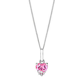Children's Silver Heart & Bow Pink Cubic Zirconia Pendant - Product number 3055833