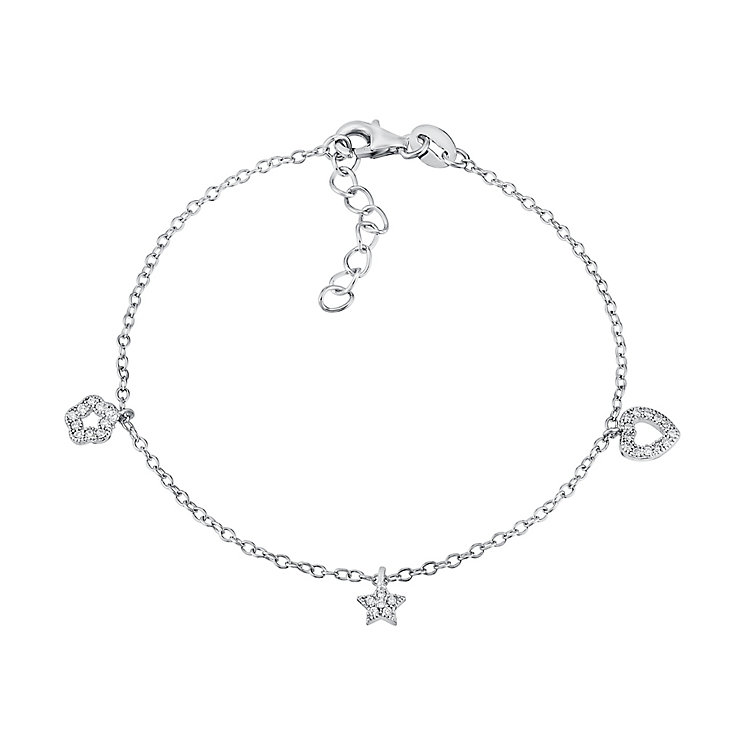 Children's Silver & Cubic Zirconia Three Charm Bracelet - Product number 3055949
