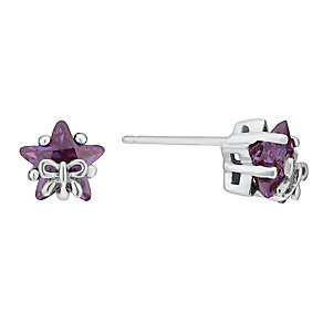 Silver Children's Star & Bow Cubic Zirconia Earrings - Product number 3055973
