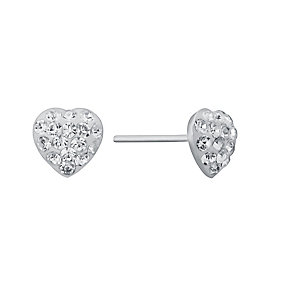 Children's Silver & Clear Crystal Heart Stud Earrings - Product number 3056309