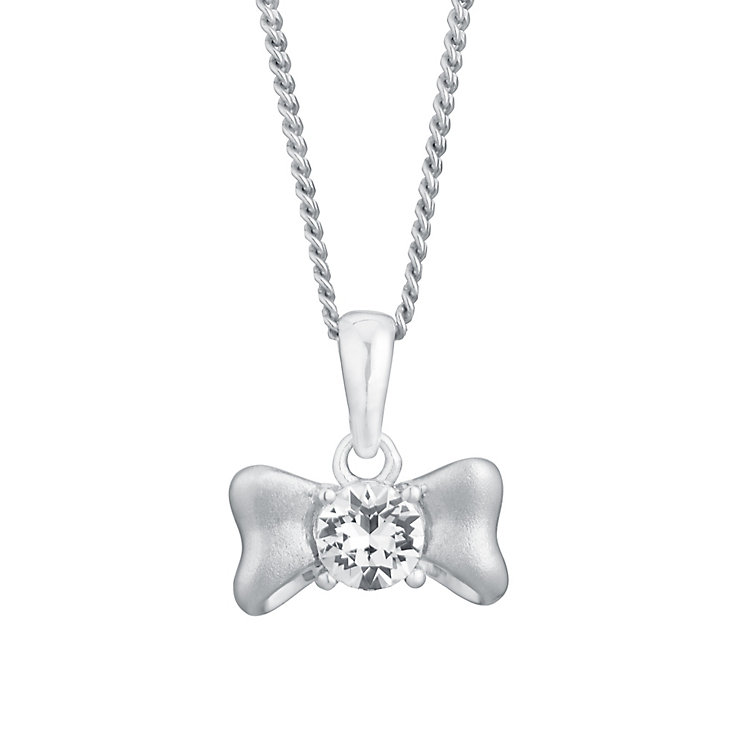 "Children's 14"" Silver & Swarovski Crystal Bow Pendant - Product number 3056376"