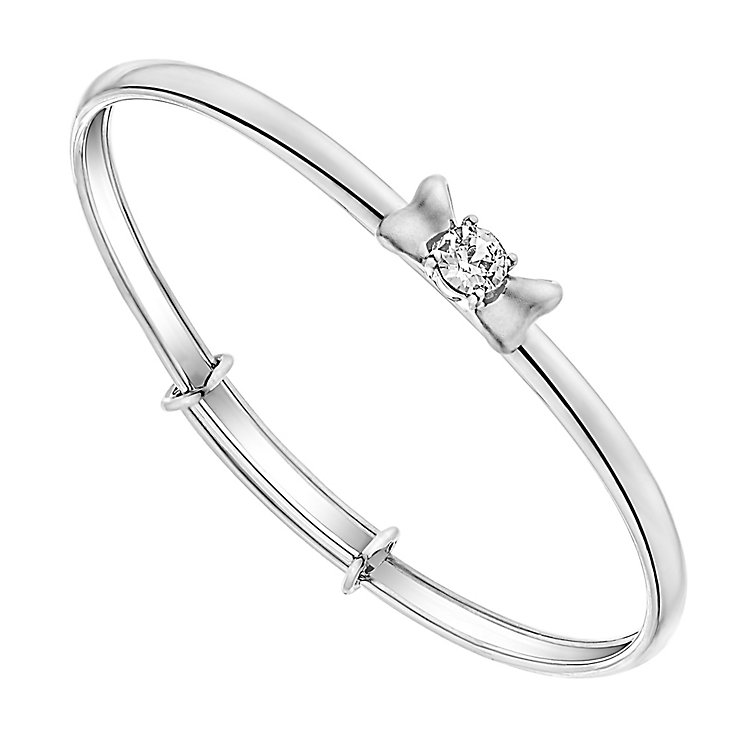 Children's Silver & Swarovski Crystal Bow Bangle - Product number 3056384