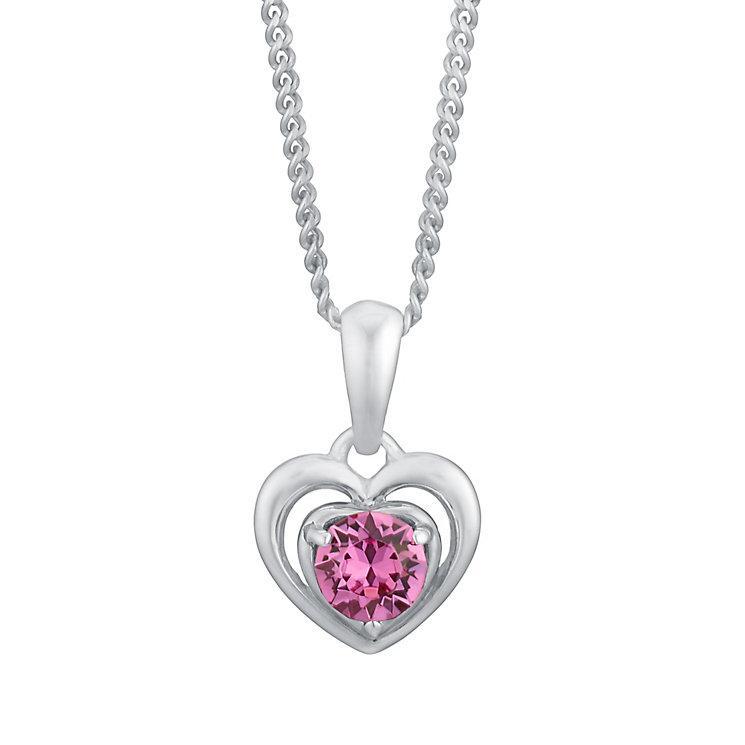 Children's Silver & Pink Swarovski Crystal Heart Pendant - Product number 3056406
