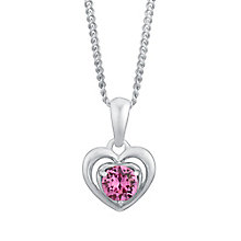 Children's Silver & Pink Swarovski Crystal Heart Pendant - Product number 3056406