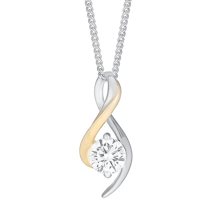 Silver & 9ct Yellow Gold Cubic Zirconia Twist Pendant - Product number 3056422