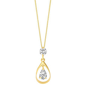 9ct Yellow Gold & Cubic Zirconia Teardrop Pendant - Product number 3056740
