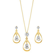 9ct Yellow Gold & Cubic Zirconia Drop Earring & Pendant Set - Product number 3057143