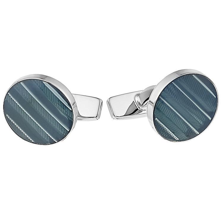Hugo Boss Martie men's green striped round cufflinks - Product number 3057186