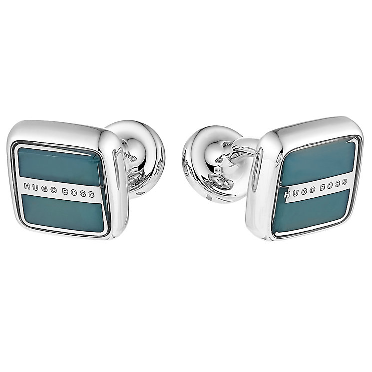 Hugo Boss Robert men's steel square green cufflinks - Product number 3057259