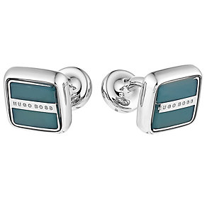Hugo Boss Robert men's steel square green cufflinks - Product number 3057259