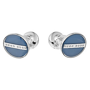 Hugo Boss Norberto steel men's round blue cufflinks - Product number 3057267