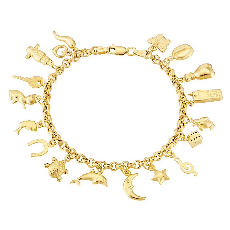 9ct Yellow Gold Multi Charm Bracelet - Product number 3057380