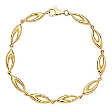 "9ct Yellow Gold 7.5"" Cut Away Oval Link Bracelet - Product number 3057429"