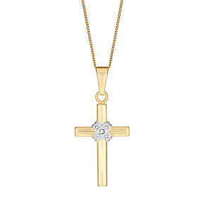 9ct Yellow Gold Diamond Kiss Detail Cross Pendant - Product number 3057593