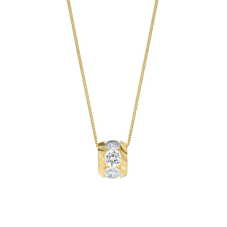 9ct Yellow Gold & Cubic Zirconia Bead Pendant - Product number 3057607