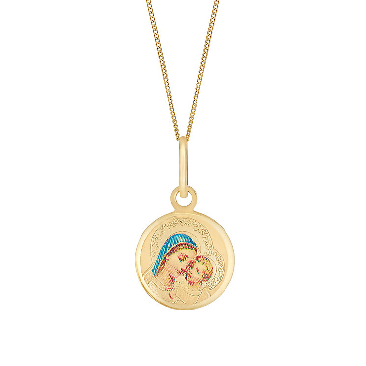 9ct Yellow Gold & Enamel Bless Mary Round Pendant - Product number 3057631