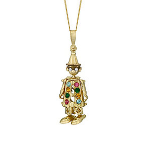 9ct Yellow Gold Multicoloured Crystal Clown Pendant - Product number 3057658
