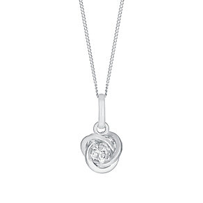 "9ct White Gold Cubic Zirconia 18"" Knot Pendant - Product number 3057682"