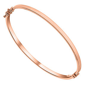 9ct Rose Gold Plain Hinged Bangle - Product number 3057690