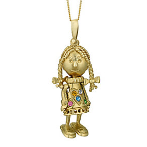 9ct Yellow Gold Multicoloured Crystal Ragdoll Girl Pendant - Product number 3057704